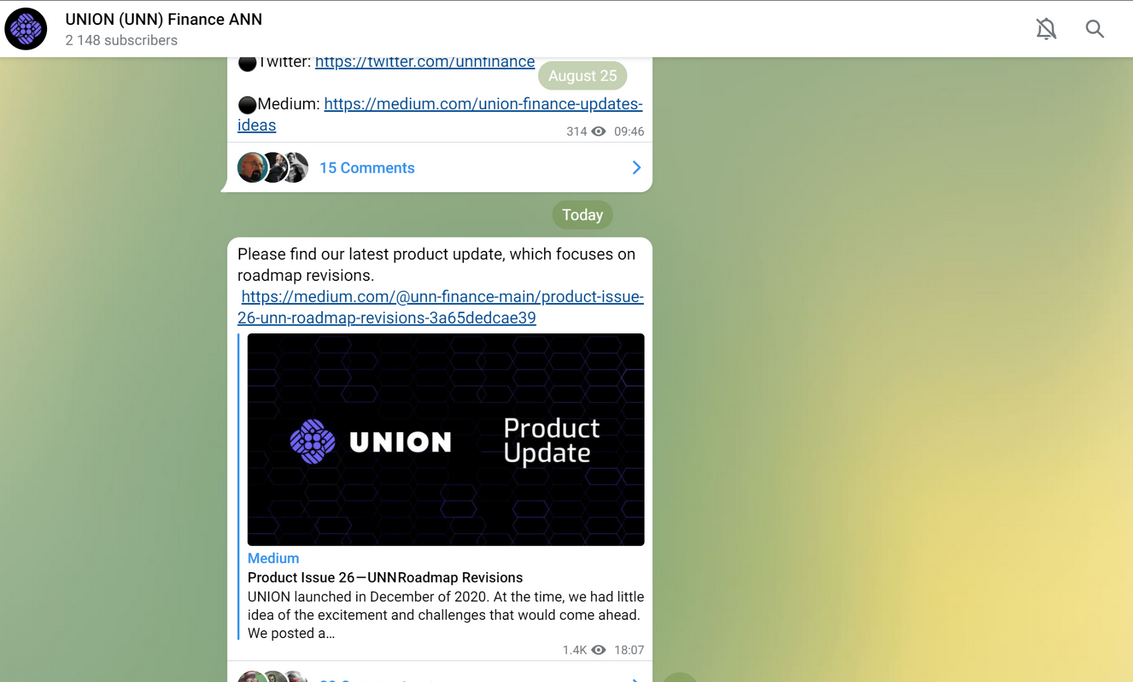 An example of a project's announcement (ANN) Telegram chat.
